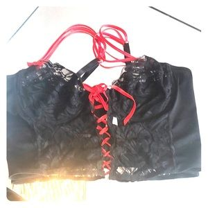 Black lace and red bra top
